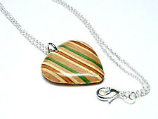 Recycled Skateboard Guitar Pendant, Guitar Pick Necklace, Wooden Plectrum,