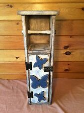 PRIMITIVE GRUNGY WHITE BUTTERFLY TOILET PAPER HOLDER BOX/Country/Distressed