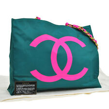 Auth CHANEL CC Logos Chain Shoulder Tote Bag Nylon Green Vintage France NR05910
