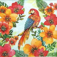 4 Single Lunch Party Paper Napkins for Decoupage Decopatch Craft Tropical Parrot