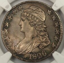 1826 50C GEM Capped Bust Half Dollar Silver Coin NGC MS 64+, Much Better Coin