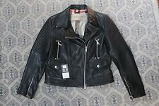 Burberry BRIT Edgewick Lambskin Leather Moto Biker Jacket Black US 8 EU 42 $1995