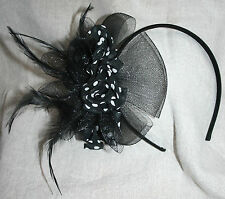 black & white FASCINATOR spots FEATHERS ribbon right side HEADBAND hairpiece