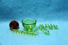 Dollhouse Miniature Chrynsbon Punch Bowl Set with Cups & Ladel Green ~ CB120G