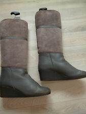 VINTAGE BOTTES DOUBLEES FOURRURE EN CUIR MOUTON RETOURNE MADE IN ITALY T 39 TBE