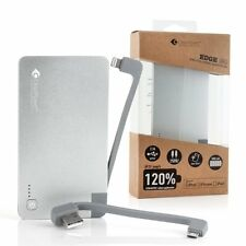 CasePower Edge Go 3000 mAh Power Bank Lightning & Micro USB Silver Apple Android