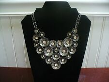 "Vintage Silvertone Metal Disk Clear Crystal 18.5"" Bib Necklace"