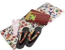 Japanese Summer Dress Yukata Hanhaba Obi Geta Cords 4pc Set Ivory Bingata