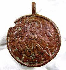 POST-medievale in Bronzo Collo icona con Monarch-ANTICO MANUFATTO indossabile-b623