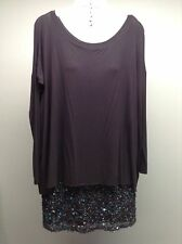 BAILEY 44 Anthropologie L/S Soft Knit Dual Layer Sequin Embellished Skirt Dress