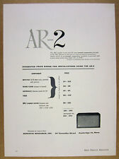 1957 Acoustic Research AR-2 Speaker System vintage print Ad