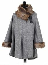 Made In Italy Lagenlook  Faux Fur Poncho Bat Wing Coat Jacket One Size 10-16 UK
