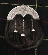New Full Dress Kilt Sporran Black Bovine Thistle Knot Work Cantle/Kilt Sporrans
