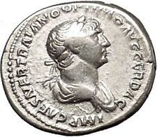TRAJAN 114AD Authentic Ancient Silver Roman Coin Virtus with parazonium i53357