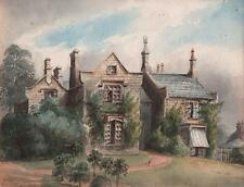 VICTORIAN HOUSE IVY COTTAGE Watercolour Painting c1860