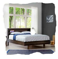 Tyson QUEEN Size Charcoal Solid Timber Bed with Bookshelf - BRAND NEW