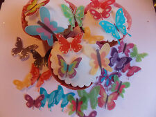 40 PRECUT Bright Edible wafer/rice paper butterfly cake/cupcake toppers