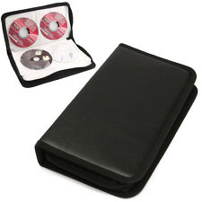 80 Disc CD Holder DVD Case Storage Wallet VCD Organizer Black Faux Leather Bag E
