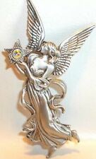 JJ VINTAGE CHRISTMAS ANGEL WITH WINGS AND STAR FLOWING ROBES PEWTER BROOCH