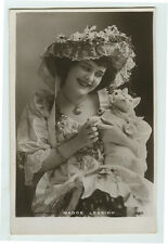 c 1907 British Theater Beauty Madge Lessing w/ TOY CAT Edwardian photo postcard