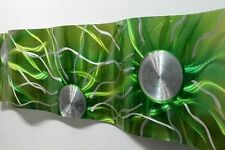 Modern Abstract Metal Wall Art Sculpture- Emerald Green Static Wave by Jon Allen