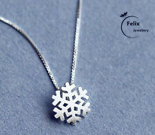 UK Women snowflake 925 Sterling Silver Jewelry Pendant Necklace Chain Gifts bags