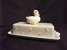 Vintage Ceramic Light Blue Butter Dish with Duck made by Josef Originals