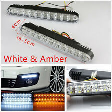 A Pair 30LED Super Bright Car Daytime Fog Lights Turn Signal Lamps White & Amber