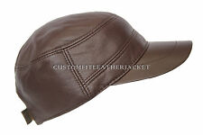 New Unisex Chocolate Brown Castro Cap High Quality Genuine Leather Beret Hat