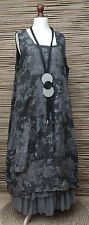 LAGENLOOK LINEN AMAZING FLORAL 2 POCKETS  DRESS*CHARCOAL*Sz XL-XXL BUST 52-56""
