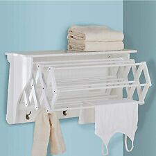 Laundry Bath Room Wall Mount Clothes Line Accordion Drying Folding Rack White