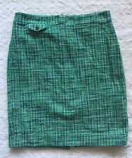 J. Crew No. 2 Pencil Skirt Caribbean Tweed Green Blue Size 8 Career Lined