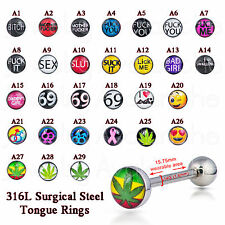 Lot of 10 Surgical Steel Tongue Rings, Dirty &  Nasty Words, Logo Tongue Rings