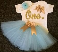 Baby girl first 1st birthday tutu outfit cake smash handmade one gold