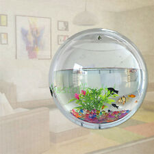 Large Wall Mount Fish Bowl Acrylic Aquarium Tank Betta Goldfish 29.5cm Diameter