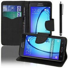 Funda Carcasa Cartera Efecto Tejido NEGRO Samsung Galaxy On5 G550FY/ Pro