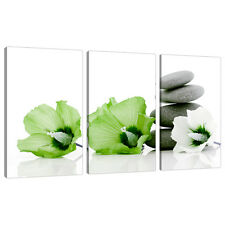 Set of 3 Lime Green Pictures Floral Canvas Art Prints UK Flowers 3070