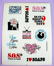 VINTAGE 1983 HALLMARK I LOVE SOAPS 11 STICKERS 1 SHEET SOAP OPERA'S SAYINGS