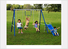 Metal Swing Sets with Slide Outdoor Kids Gym Backyard Play Playground Equipment