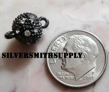 9mm Crystal Rhinestone ball magnetic jewelry clasp Black plated FPC238