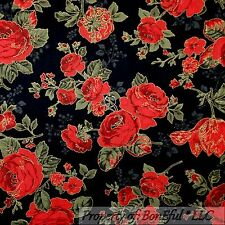 BonEful Fabric FQ Cotton Quilt Black Red Gold Rose Flower Calico Dot Metallic Lg