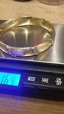 14K Brushed Yellow Gold Bangle Bracelet 16.9 grams 3 diamond stations. 7""