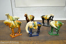 New Set of 6 pcs Chinese Ceramic Small TANG Horses Figures Statues Feng Shui