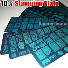 NEW 10pcs XL FULL Nail Stamping Plate Stamp Disc Print Transfer Template Stencil