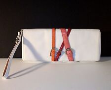 COACH LARGE CLUTCH PURSE Genuine LIZARD White Leather MIRROR WRISTLET 9721 EUC