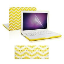 "Matte Chevron YELLOW Hard Case + Keyboard Cover +LCD for Macbook White 13"" A1342"
