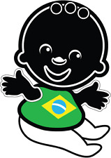 "Baby Brazil Flag Car Bumper Sticker 4"" x 5"""