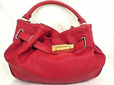 Burberry Red Leather Gold Double Top Handle Shoulder Strap Hand Bag Hobo Purse