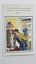 1950s Vintage Funny Postcard Naked Nude Sculpture Statue Art Dealer Antique Shop