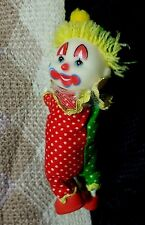 Vintage Green & Red Happy Clown Clip-on toy hugger 80's cling circus smile